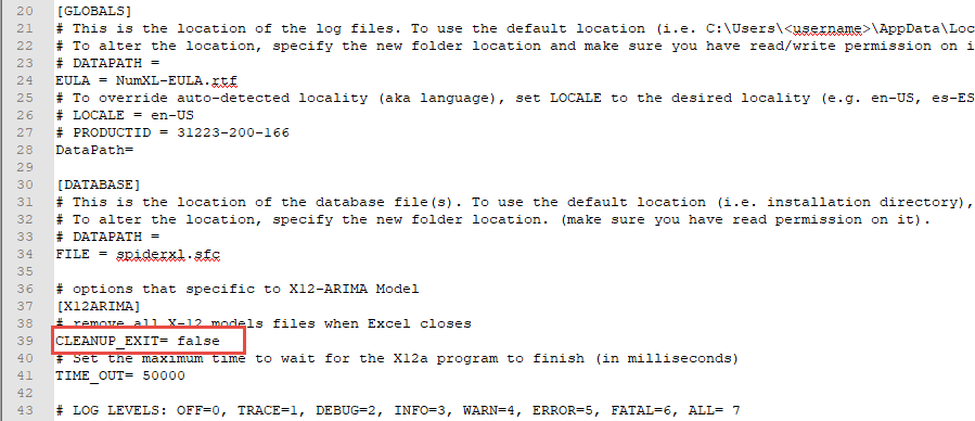 This image shows the NumXL.conf file, and the CLEANUP_EXIT entry value set to 'false'
