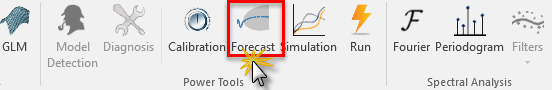 Selecting forecast icon in NumXL toolbar