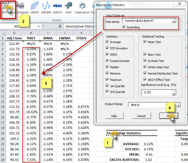 The descriptive statistics dialog lists a wide range of summary statistics measures and tests. By default, all measures and tests are checked (i.e., selected).