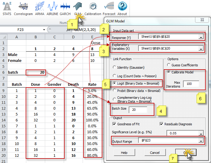 Generalized linear model (Generalized Linear Model in Excel) Wizard