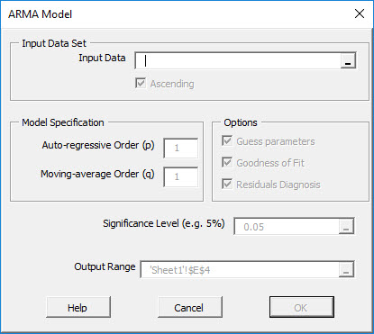 In this figure, we show the NumXL ARMA Model Dialog