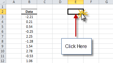Select an empty cell in your worksheet to display the normality test results.