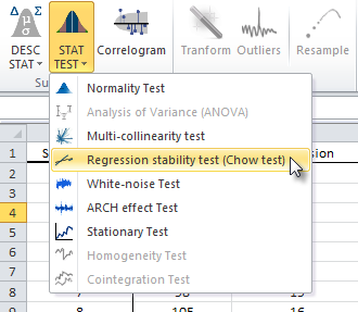 Locate and click on the regression stability test icon in NumXL toolbar